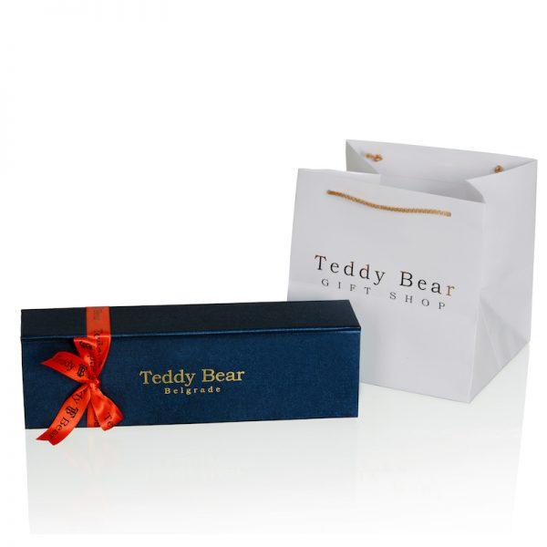 Teddy Bear Single Rose Navy Blue Red